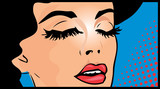 Cropped illustration of a woman in a pop art comic book style