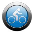 "Metallic Orb Button ""Bicycle Symbol / Bicycle Trail"""