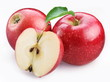 Two ripe red apples and half of apple.