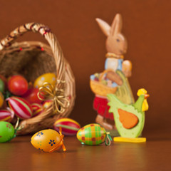 Easter basket, eggs, bunny and chicken
