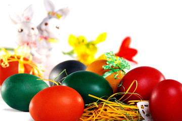 Easter bunny and Easter eggs.