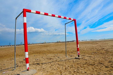 football goal in the beach