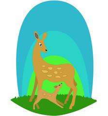 deer and young deer