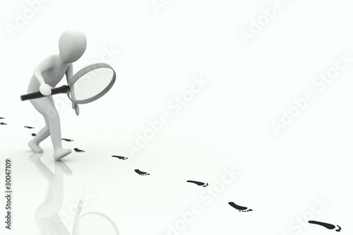 3d human follows some footstep