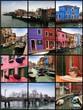 Collage de la Isla de Burano, Venecia.