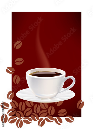 Cup of coffee and dark abstract background.
