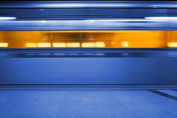 Underground train, motion blur