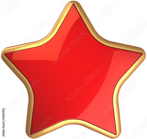 Red star shape rating symbol scarlet with golden border
