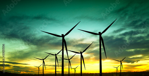 Wind turbines silhouette at sunset - 30051506