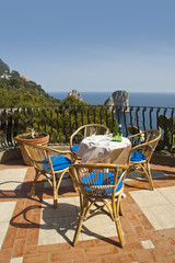 Terrace over the sea on  the beautiful island of Capri in Italy