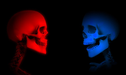 Red And Blue Skeletons
