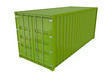 Green cargo container isolated against a white background