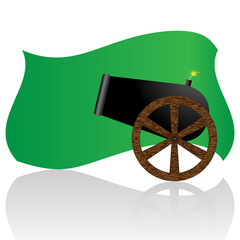 Libyan flag and cannon