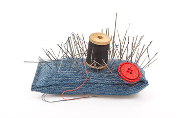 Pincushion with lot of needles