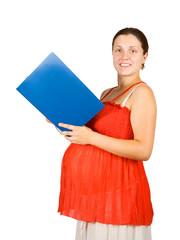Pregnant girl reads paper folder