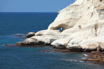 . White rocks and grottoes Rosh-a-Nikra. Picturesque sea