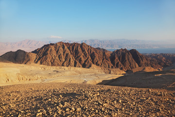Sharp turns of road in mountains of Eilat