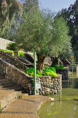 Baptismal site at Jordan river shore. Israel.