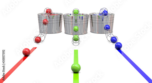 Buckets with RGB colors and balls