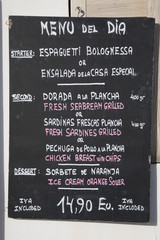 Menu in English and Spanish in Majorca, Spain