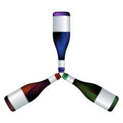 wine bottles trio