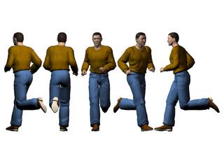 Mann rennend - verschiedene Ansichten