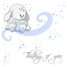 Greeting card - Blue myślenie królik z was