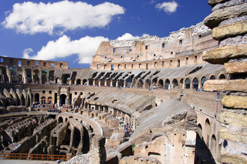Interior of Colosseum in Rome, Italy