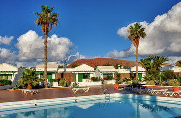 Canary Island holiday complex with pool