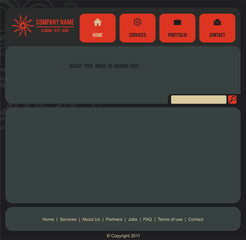 Vector web site layout on dark gray and  red theme - not sliced