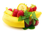 Banana with berries