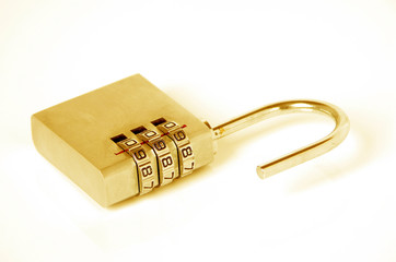Digital combination golden padlock isolated on white background