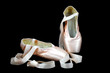 Pointe ballerina shoes on black background