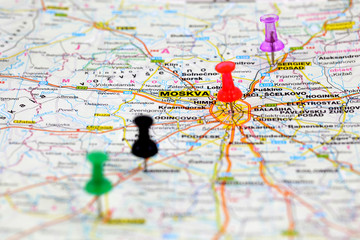 Road map with colored push pins of Moscow in Russia