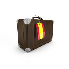 Koffer mit Hang Tag als Spanien Fahne (incl. Freistellungspfad)