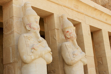 Osirian statues of Hatshepsut at her tomb