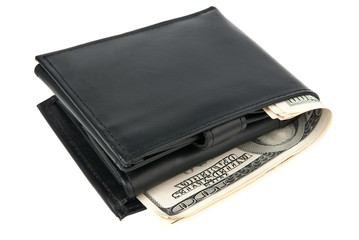 Wallet with dollars over white