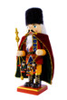 Wooden nutcracker with three small nutcrackers isolated