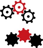 Gears - black and red - 1. Mechanical gears for your design.