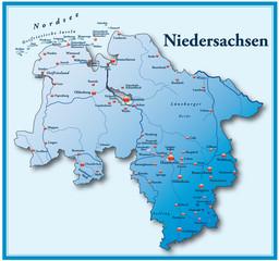 Niedersachsen Übersicht blau mit Rahmen