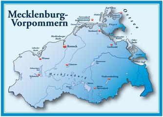 Mecklenburg-Vorpommern Übersicht blau mit Rahmen