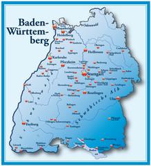 Baden Württemberg Übersicht blau im Rahmen