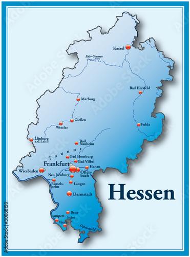 Hessen Übersicht blau mit Rahmen