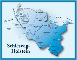 Schleswig-Holstein blau mit Rahmen