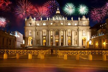 Basilica di San Pietro with firework, Vatican, Rome, Italy