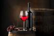 red wine on old barrel