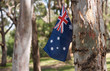 Australian icons, flag and gum trees.