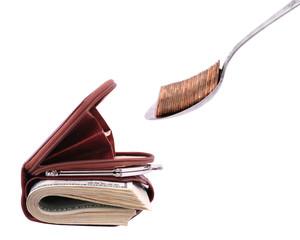 Conceptual image wants to eat a purse
