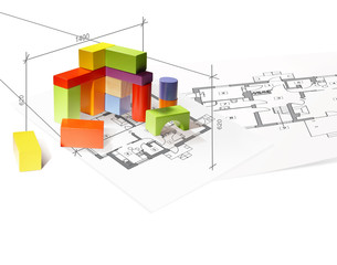 Architecture model house from building blocks