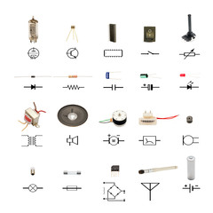 electronic components with circuit schematic symbols on white